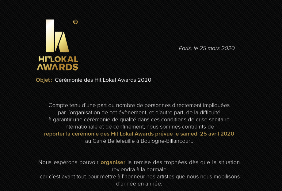 Hit Lokal Awards 2020 : Pas de cérémonie le 25 avril 2020